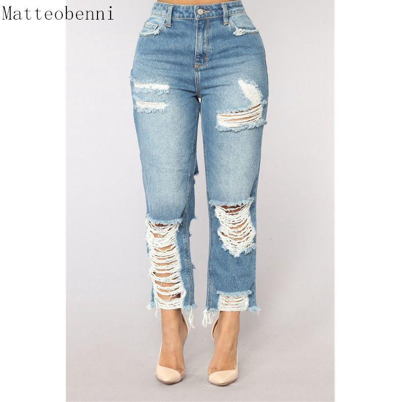 comprar popular 72fcf 82a71 Compre Mujeres Sexy Jeans Rotos Chicas Gloria Jeans Con Cintura Alta Damas  Mamá Pantalones De Mezclilla Femme Boyfriend Para Calca Feminino A $30.42  ...