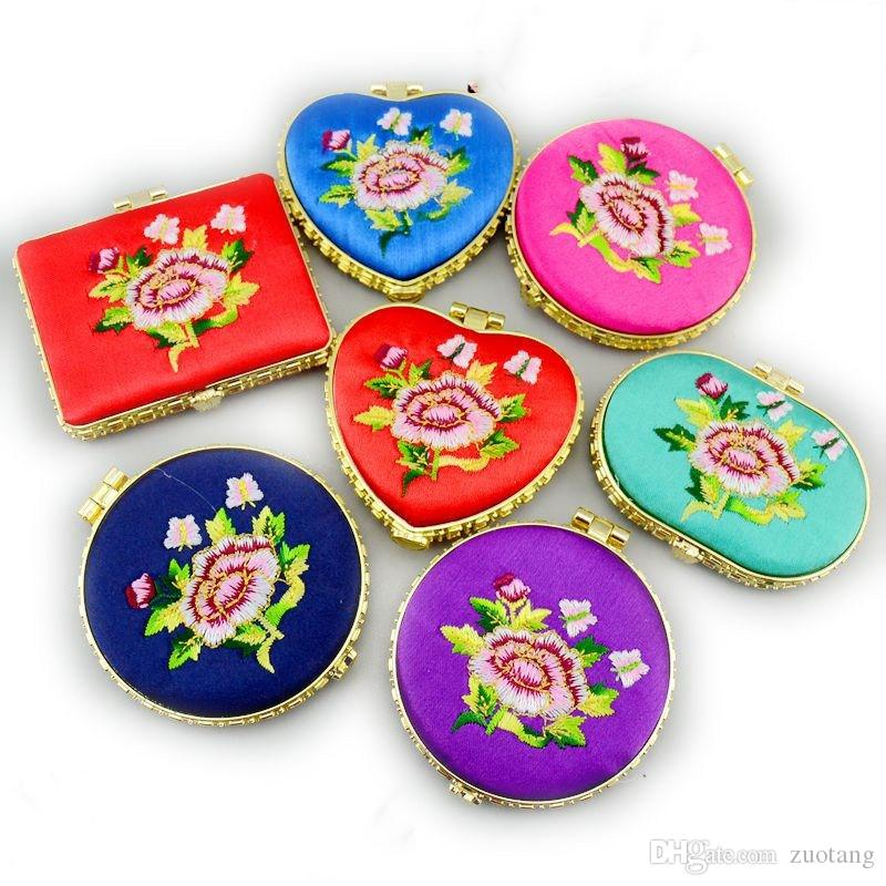 Embroidered Peony Flower Pocket Compact Mirrors Wedding Birthday Party Favors Pretty Double sided Small Ladies Makeup Mirror Portable 10pcs/