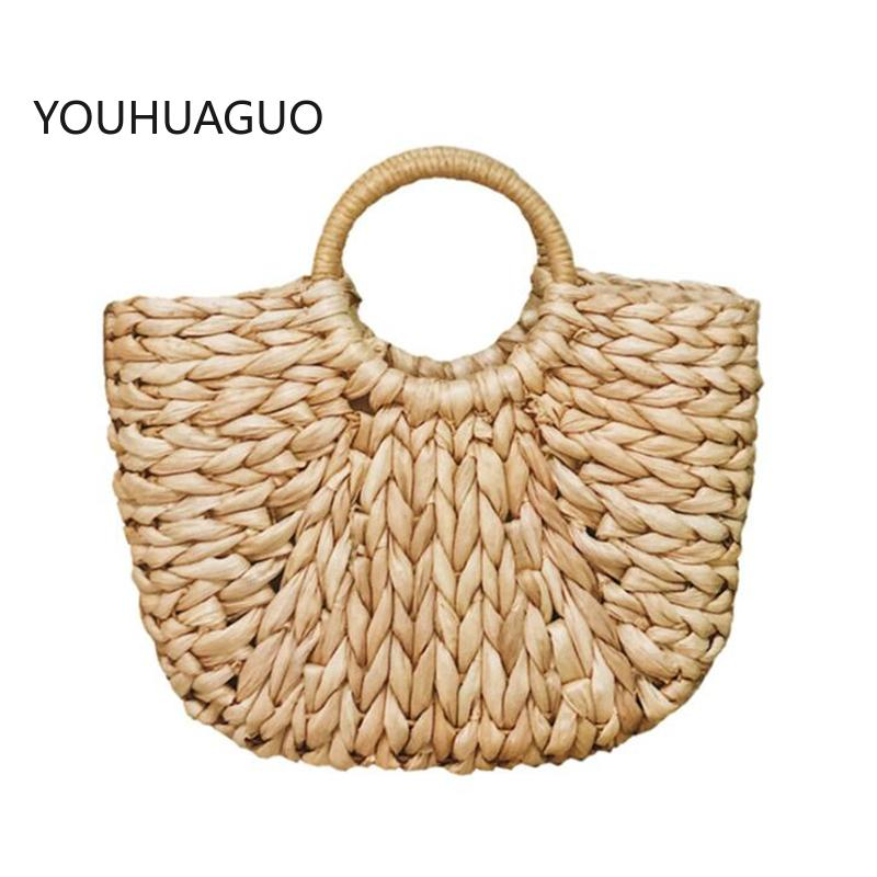 YOUHUAGUO Simple Straw Handbag for Girls Summer Beach Travel Hand Bag Half Moon Hand Woven Rattan Handbags Round Handle Bags