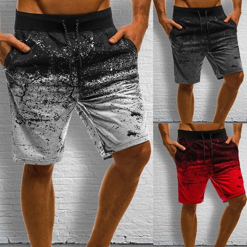 MONERFFI Hombres Casual Pantalones cortos manera imprimió Joggers corto pantalón de verano con cordón de Hip Hop Delgado Pantalones cortos de entrenamiento más el tamaño