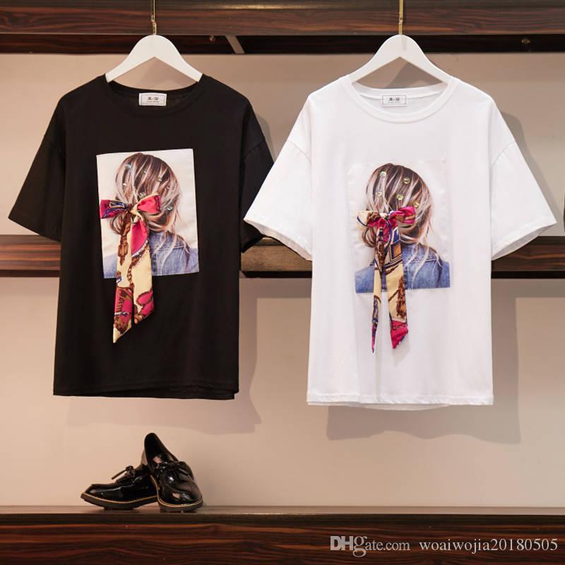 20190502 Short-sleeved T-shirt, loose-cut printed jacket, round collar and bottom shirt