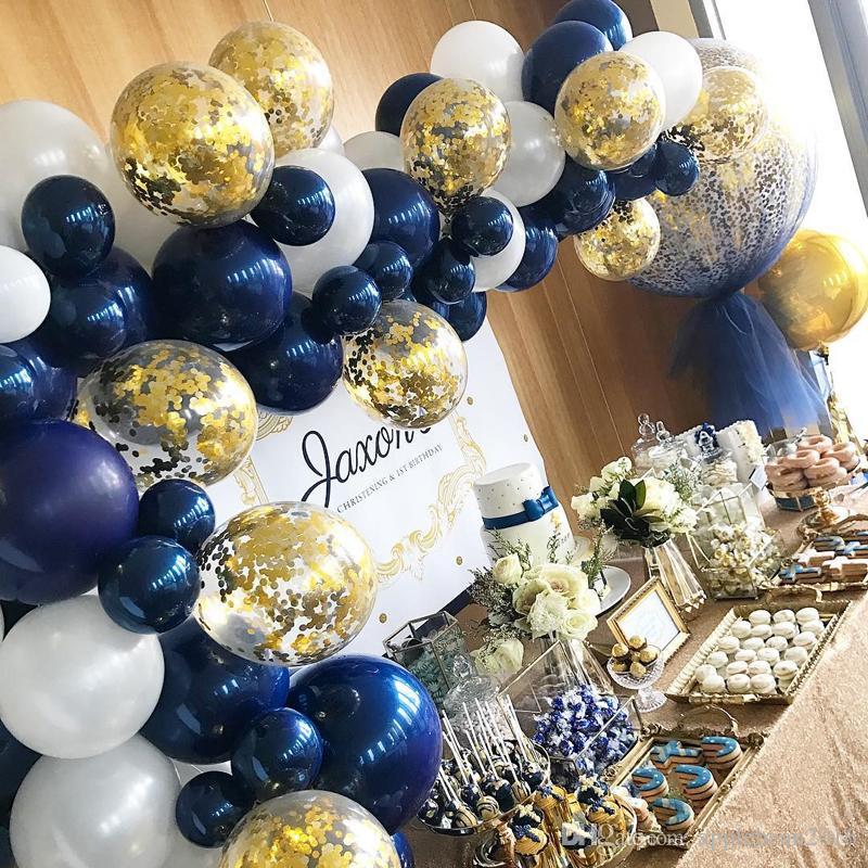 12inch 10inch 5inch Luminous Blue Balloon Shining Dark Blue Balloon Birthday Wedding Party Decoration Baby Shower Latex Balloon Online Party Supply