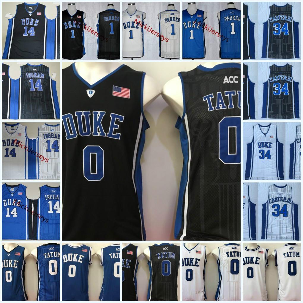 Mens Duke Blue Devils Jayson Tatum Basketball Jersey 14 Brandon Ingram #1 Jabari Parker #34 Wendell Carter Jr. Duke Jersey S-3XL