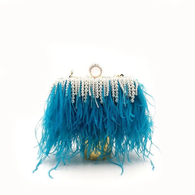 Перо страуса Мода Кристалл Жемчужное вечер клатчи Женщины Элегантные сумки Свадеб леди кошелек сумка