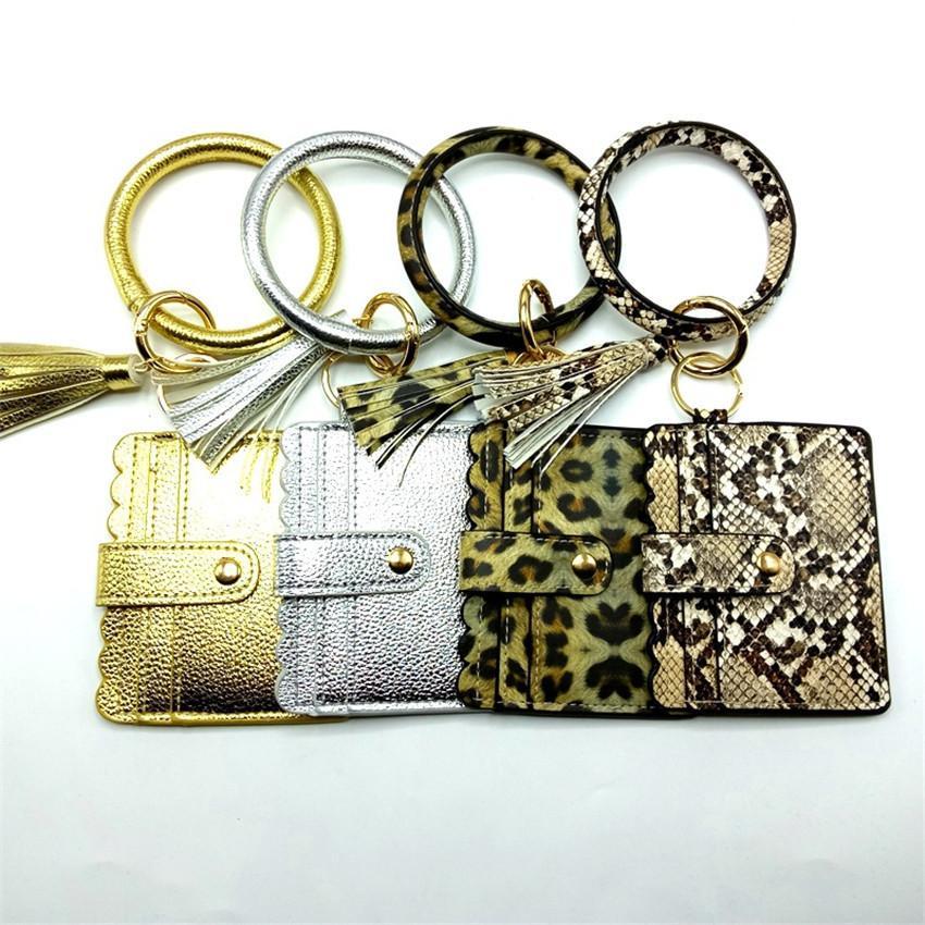 Bangle de raccordement en cuir porte-clés porte-clés BRACELET TASSEL BRACELET FEMME Chaîne Femme Cercle de Pack léopard avec porte-clés E2180 OBGOJ