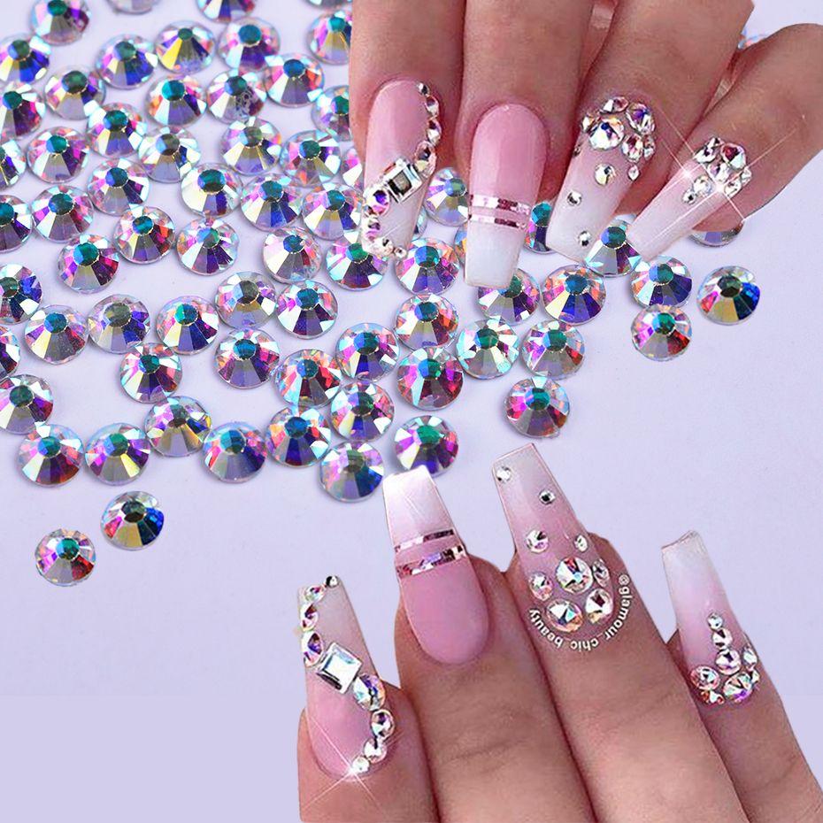 10 saco / conjunto (1440 Pçs / saco) Flat Back AB Cor Cristal Prego Strass Jóias 3D Vidro Diamante Gemas Nail Art Decoração DIY Artesanato Strass