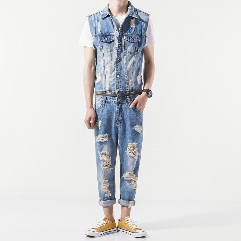 Uomo Estate Nuovo senza maniche in denim tuta casuale del cowboy Slim Fit Foro strappato pagliaccetto Jeans Pantaloni Uomo ZIP One Piece Salopette