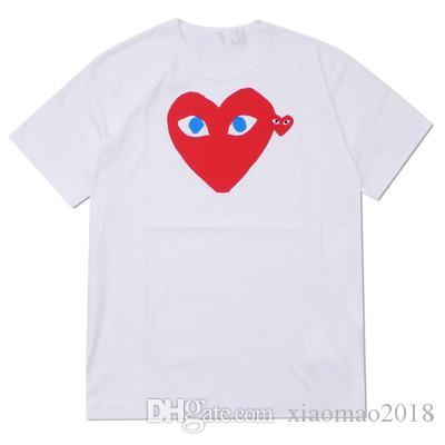 Melhores cartas amantes T-shirt JOGO Qualidade Grey COM DES G GARCONS CDG coração feriado Emoji TEE marca maré T camisa coração pêssego algodão