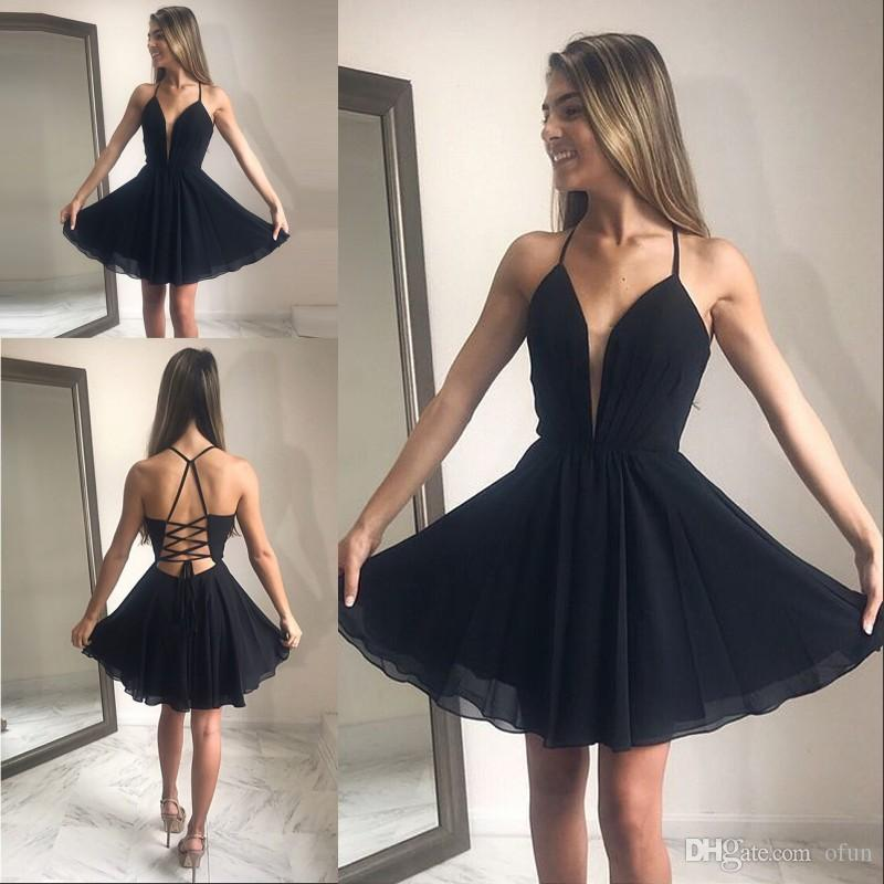 Simple Black Backless Homecoming Dress Chiffon A Line Halter Short Mini Prom Dress Criss Cross Sleeveless Cocktail Party Gown