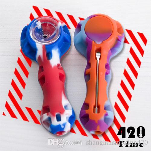 Tubulação de mão de silício colorido com tigela de vidro cor aleatória Silicon dab rig Hookah Bongs tigela de vidro dab ferramenta atacado 449