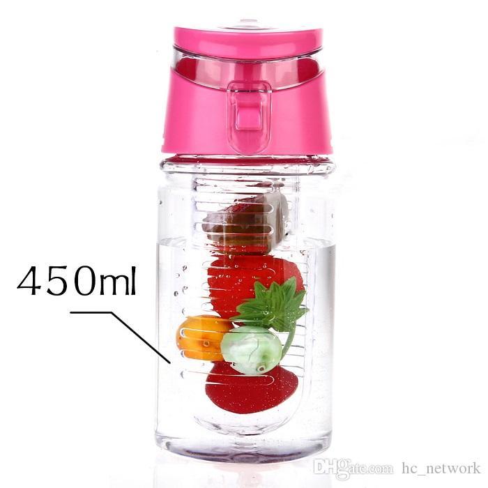 Hot 450ml Frutta infusore bottiglia di acqua BPA-Free Fruit Infusion Sport bottiglia di succo di limone Shaker sport bottiglia di acqua di trasporto