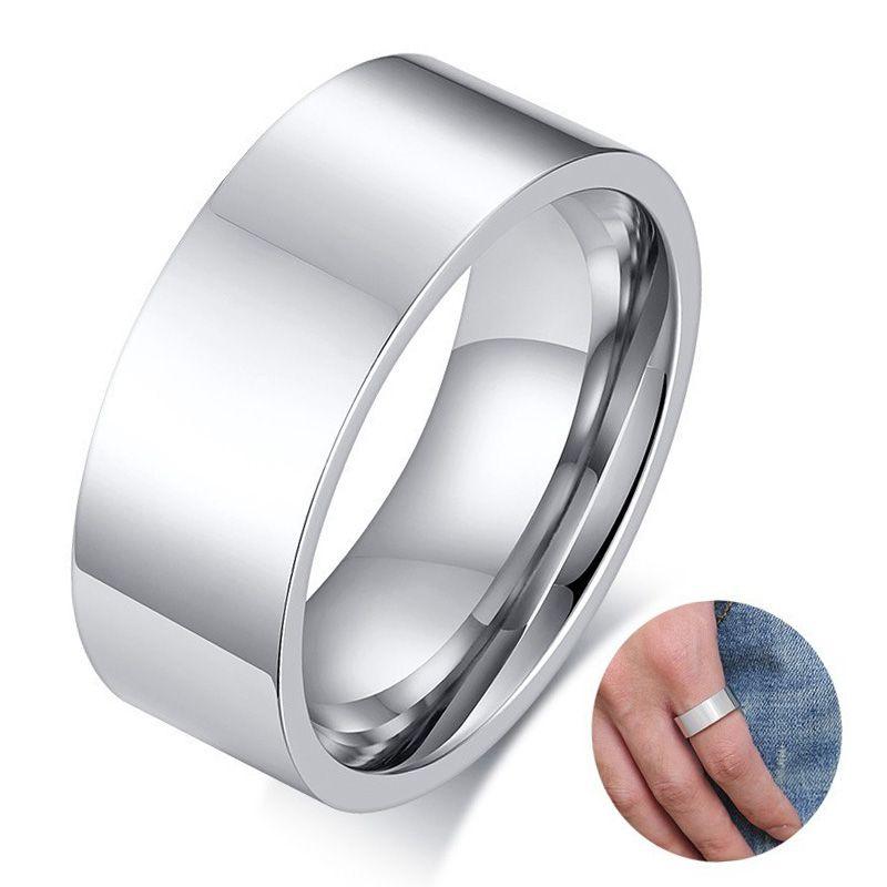 Anneaux de mariage en acier inoxydable pour hommes en ton argent de 8 mm Personnalisé plat bord carré Man Anillos