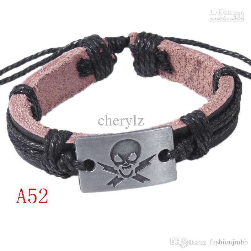 Neue Piraten-Schädel-Weinlese-Armband Modeschmuck Charme-Armbänder Leder-Legierung Freie Größe Handgemachte A52