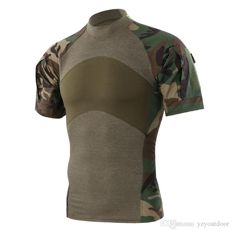 Men Summer Outdoor Hiking Camping T-Shirts Tactical Army Green Sport Tees Short Sleeve Camouflage T-shirts Free Shipping