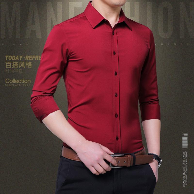 Festa vestido masculino camisas Autumn Magro Camisas de vestido Sólidos Designer Cor manga comprida lapela do pescoço dos homens Moda magros