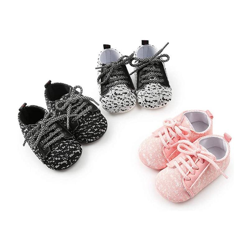 Infant Chaussures Semelles souples Chaussures à lacets nouveau-né Anti-Slip First Walkers Flats Intérieur Extérieur Chaussures