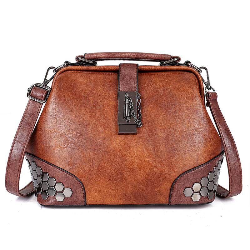 Donne borsa in pelle piccolo medico delle donne del sacchetto spalla femminile del sacchetto di Crossbody borsa catena di blocco Rivetti Ragazze Vintage Borse