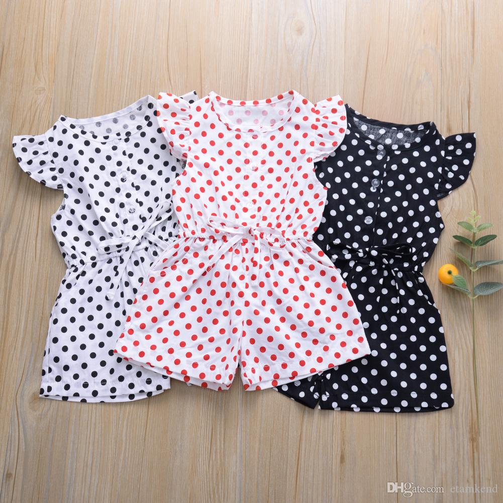 Kid Girl Polka Dot Romper Off Shoulder Bodysuit Jumpsuit Outfit Clothes Playsuit
