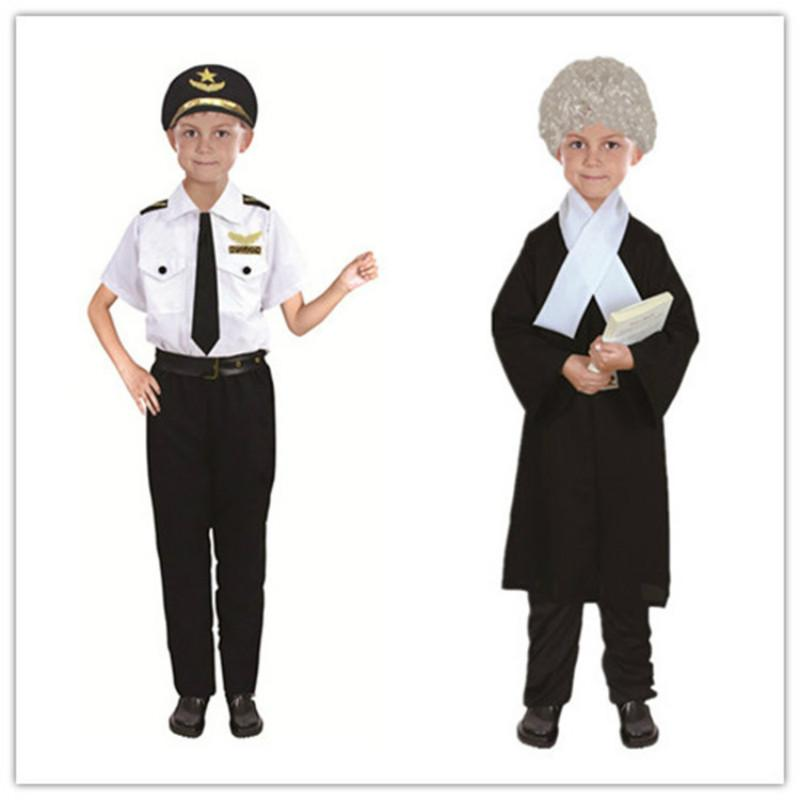 Best Selling Kids Halloween Fire Costume Kids Cos Day Costume Police Attorney Pilot Doctor Worker Pilot Performance Boy Girl Cosplay Costume