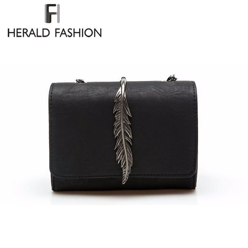 Herald Fashion Leaves Decorated Mini Flap Bag Wildleder Pu-leder Kleine Frauen Umhängetasche Kette Umhängetasche Herbst Neue Ankunft Y190606