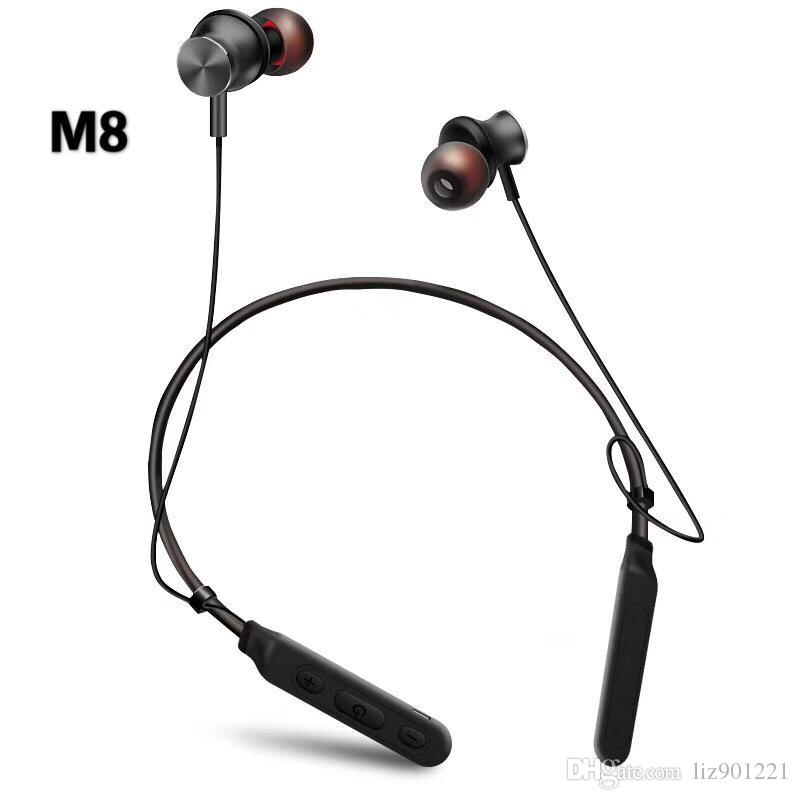 M8 Hang Neck Wireless Mobile Bluetooth Headset Voice Control Multi Point Connected To Ear Stereo Dual Ear Android Universal Call Cell Phone Bluetooth Earbuds Cell Phone Earphones With Microphone From Liz901221 12 07