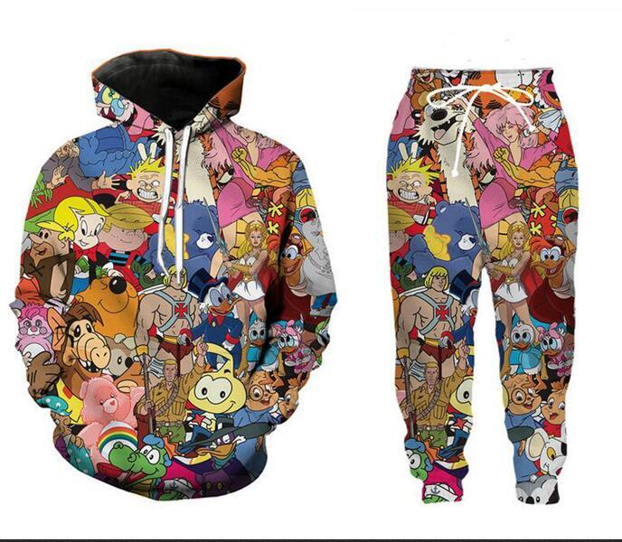 Neue Männer / Frauen Cartoon Charaktere 90 s Lustige 3D Print Mode Trainingsanzüge Crewneck Hip Hop Sweatshirt und Hosen 2 Stücke Set Hoodies