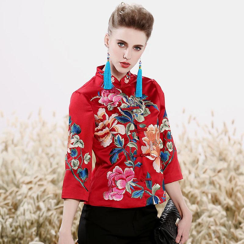 Женские топы осень вышитые винтажные цветочные полушубки Топы мандарин воротник 3/4 рукавом леди повседневная куртка женская S-XXL
