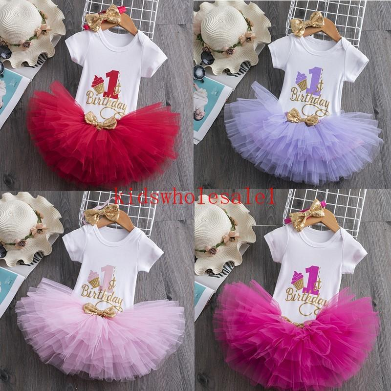 3pcs Outfit Toddler Baby Princess Girl Baptism Birthday Chirstening Tulle Dress