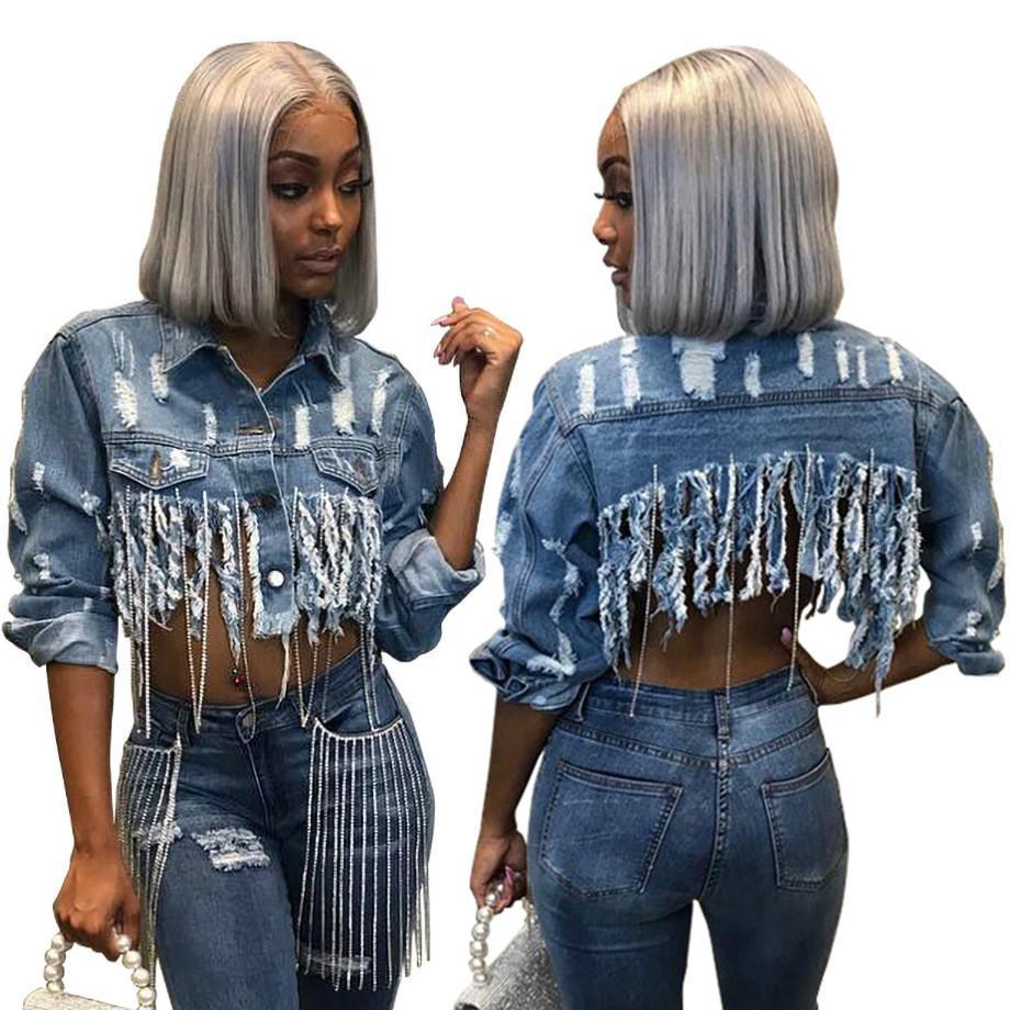 concepteur modèles d'explosion de veste en jean courte de la mode pour femmes vendant la mode européenne et américaine sexy gros