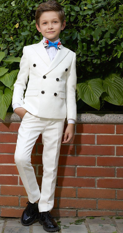 Muchacho de la manera juego hermoso traje de dos piezas (chaqueta + pantalones) Boy ceremonia de graduación Partido de los pantalones de baile de boda Trajes Tuexdos personalizados