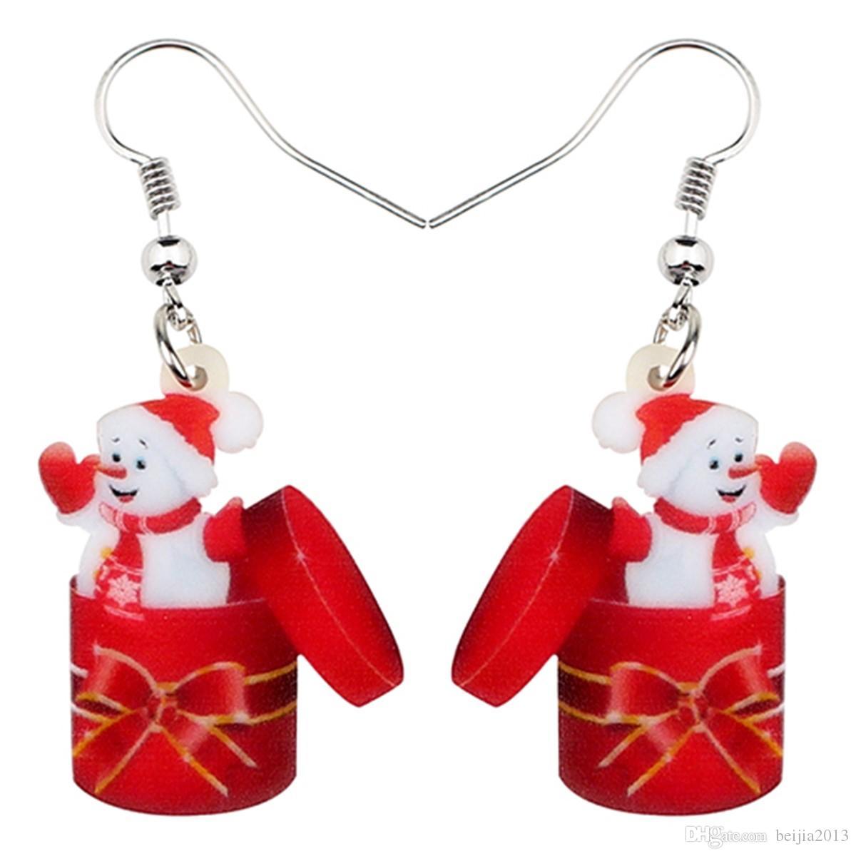 Acrilico Christmas Snowman Gift Box orecchini di goccia ciondolano Capodanno ornamenti gioielli per le donne Ragazze Accessori Commercio all'ingrosso