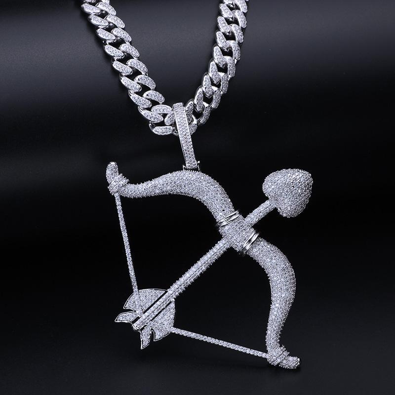 الكوبية ربط سلسلة كبيرة مجوهرات تعليقة هوب هوب مثلج خارج قلادة فاخر مصمم سحر قلادة الرجال الذهب الفضة الهيب هوب بلينغ الماس الأزياء