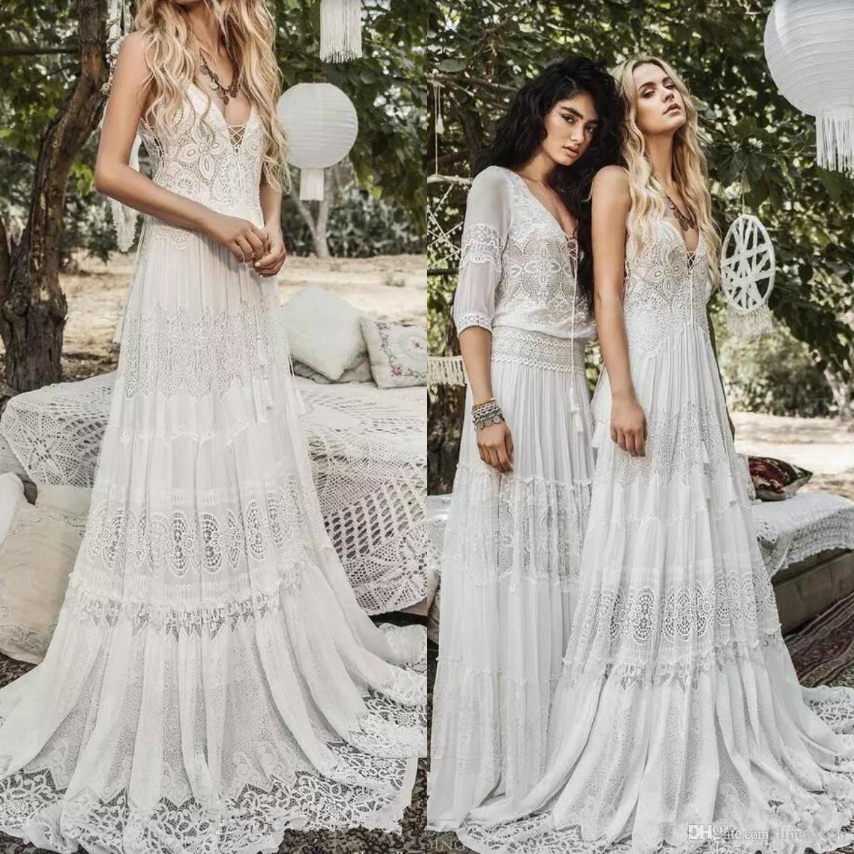 Discount Bohemian Flowy Chiffon Beach Wedding Dresses V Neck Cheap Boho Bridal Gowns A Line Sexy Lace Appliqued Wedding Dress Vestidos De Novia Wedding Dresses Cheap Online Wedding Dresses For Bride From