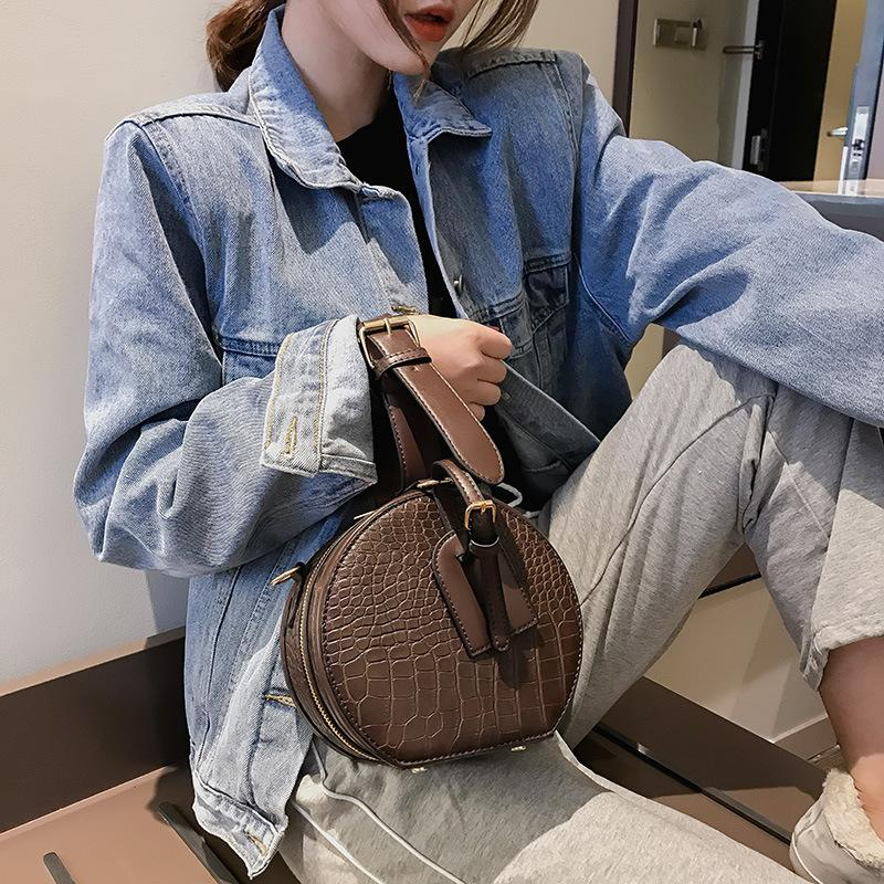 Vintage Yuvarlak Timsah Kadınlar Çanta Timsah Omuz Çantaları Pu Deri Crossbody Çanta Bayanlar Küçük Cüzdanlar 2019
