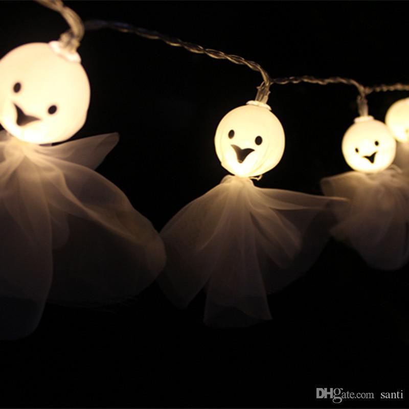 Halloween-Baby-Gesichter Puppen Irrlichter Schnur-Lampen-Feiertags-Party-Dekoration-Schnur-Licht-Batterie betrieben Halloween-Dekorationen JK1909XB