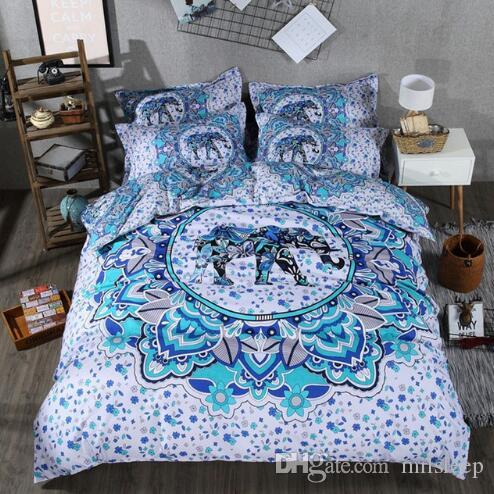 3D set di biancheria da letto trapunta elefante stampa di lusso set copripiumino della Boemia regina king Size letto set letto linea