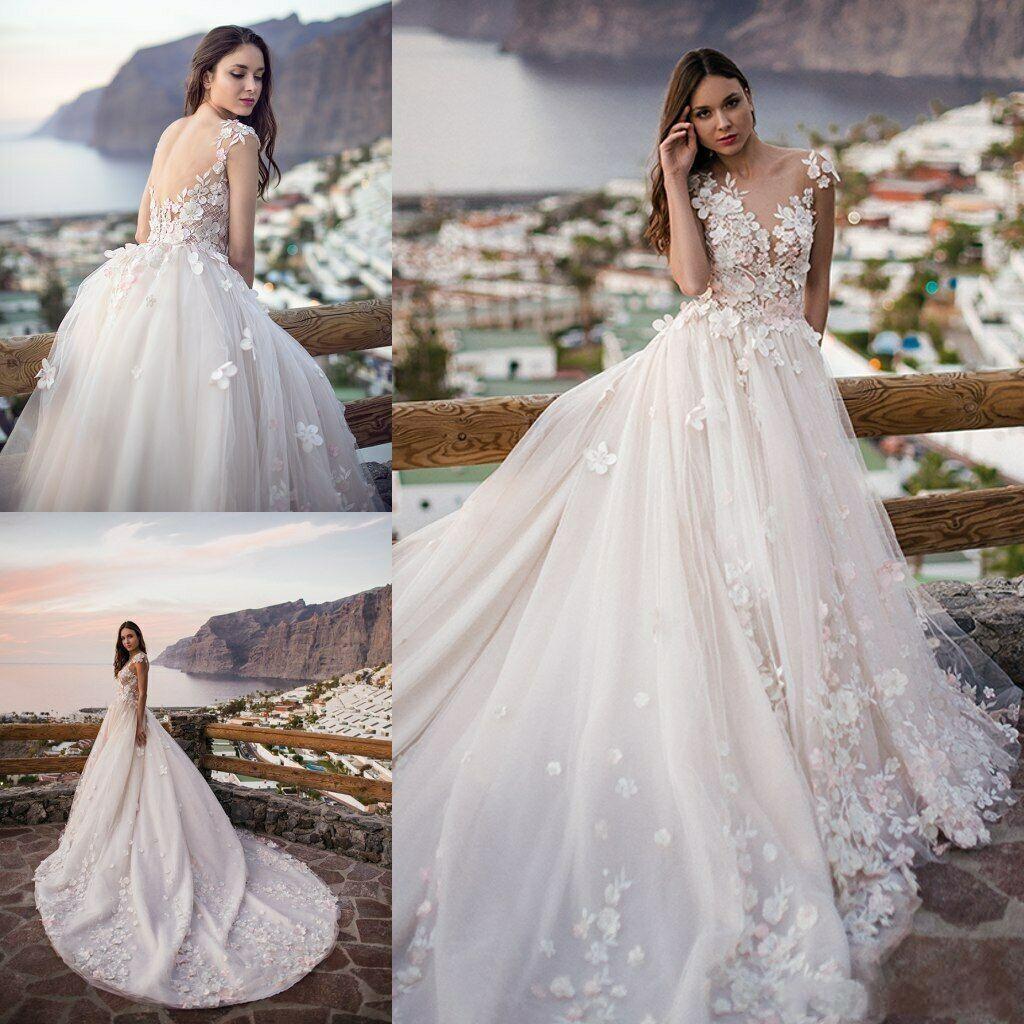 2020 Cap Abiti Paese 3D floreale appliquéd sfera abito da sposa Corte merletto del manicotto del treno da sposa abiti da sposa abito da Vestido De Novia