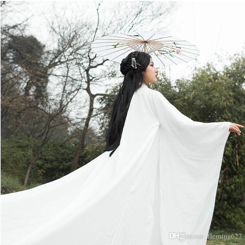 High End Oriental Girl White Costume Ancient China Fairy Hanfu Dress East Asian Style Fresh Elegant Sword Lady chinese folk dance clothes