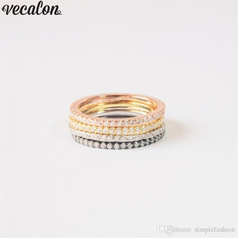 Vecalon Classic Promise Bands ring 925 Sterling Silver 5A Cz Party wedding band rings For women Bridal Finger Jewelry