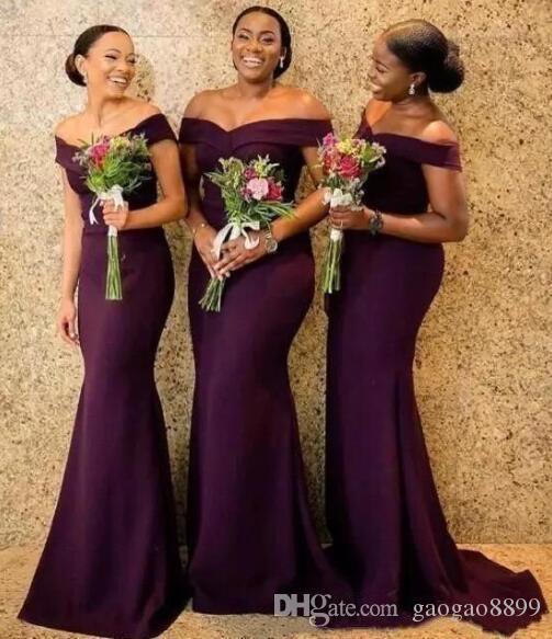 2019 высокое качество дешевые элегантные с плеча атласные длинные платья невесты рюшами развертки поезд свадебные платья для гостей фрейлин