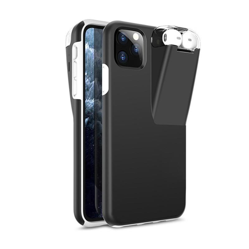 La caja del teléfono 2en1 silicón de la armadura para IPhone XS 11 Pro Max Xr X 6 7 8Plus cubierta de carga 300mAh Caja para AirPods Originales 12 de carga portátil