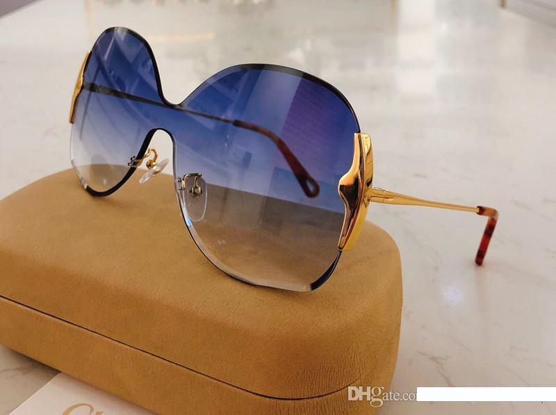 Yüz Kutusu 162S ile gel yeni 162 Güneş gözlüğü İçin Kadınlar Moda tasarımcısı Çerçevesiz UV400 Len Yaz Stili Adumbral Kelebek Tasarımcı