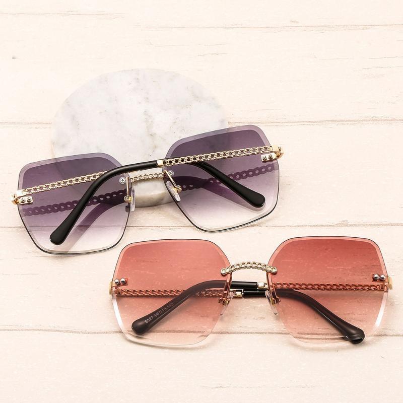 Nuova 2020 donne di disegno Occhiali da sole donne degli uomini di modo metallo senza montatura degli occhiali da sole di marca Poligono Rosa Lens Eyewear