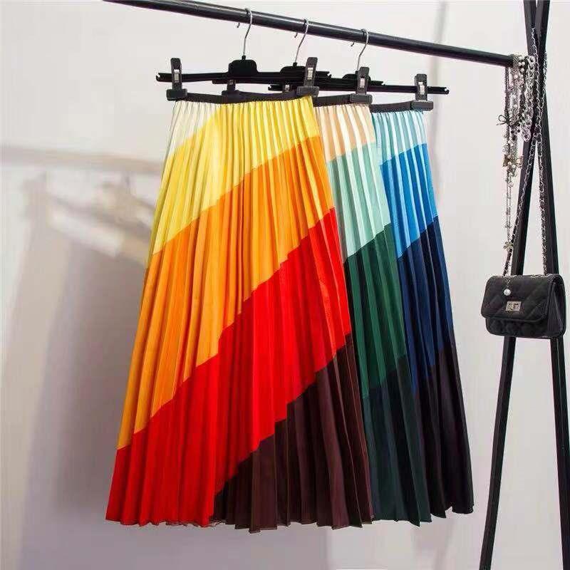 Faldas para las mujeres 2019 nuevo venir resorte superficie del arco iris decoloración mujeres de seda Calle faldas Estilo A rayó la línea faldas