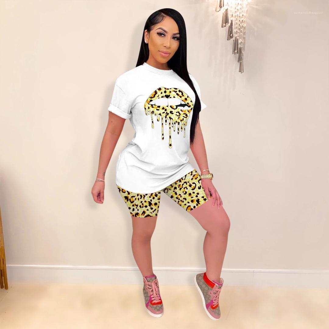 Été à manches courtes T-shirt ras du cou concepteur Shorts Casual Famale Sport Costume Femmes imprimé léopard Survêtements