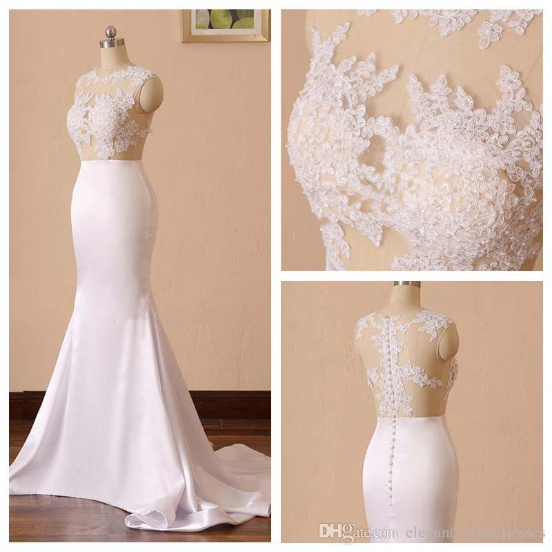 2019 Charming Jewel Neck Lace Applique Wedding Dress Mermaid 2019 Sleeveless Pearl Beading Back Simple Wedding Dress With Sweep Train Cheap Gowns Cheap Lace Wedding Dresses From Elegant Bridedresses 116 59 Dhgate Com,Short Royal Blue Dress For Wedding Guest