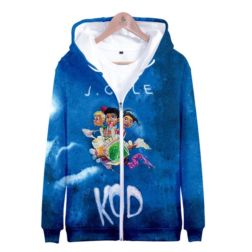 J.Cole New KOD 3D Printed Zipper Hoodies Women/Men Fashion Long Sleeve Hooded Sweatshirts 2019 Hip Hop Streetwear Clothes