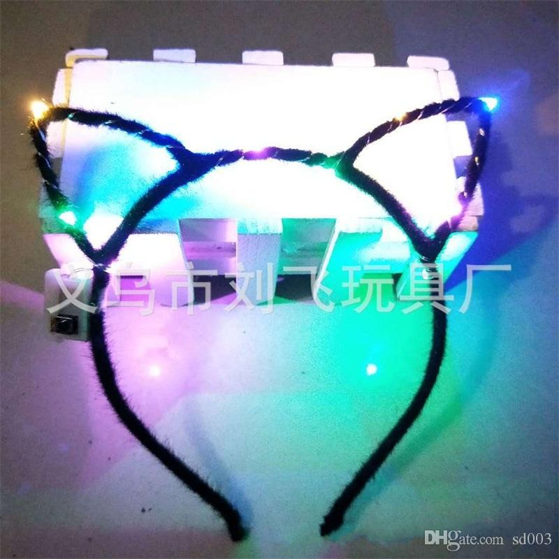 Led Light Up Toys Hair Hoop Girl Orejas de conejo Diadema Opp Embalaje Cartoon Hairs Band Vender bien con alta calidad 1 7lf J1