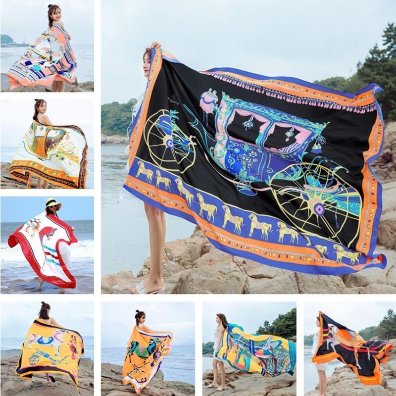 Cover-Ups Super Big 140x190cm Twill Algodón Pareo 2021 Summer Wrap Bufanda Bañador Bikini Cover Up Otoño Beach Sarong Mats