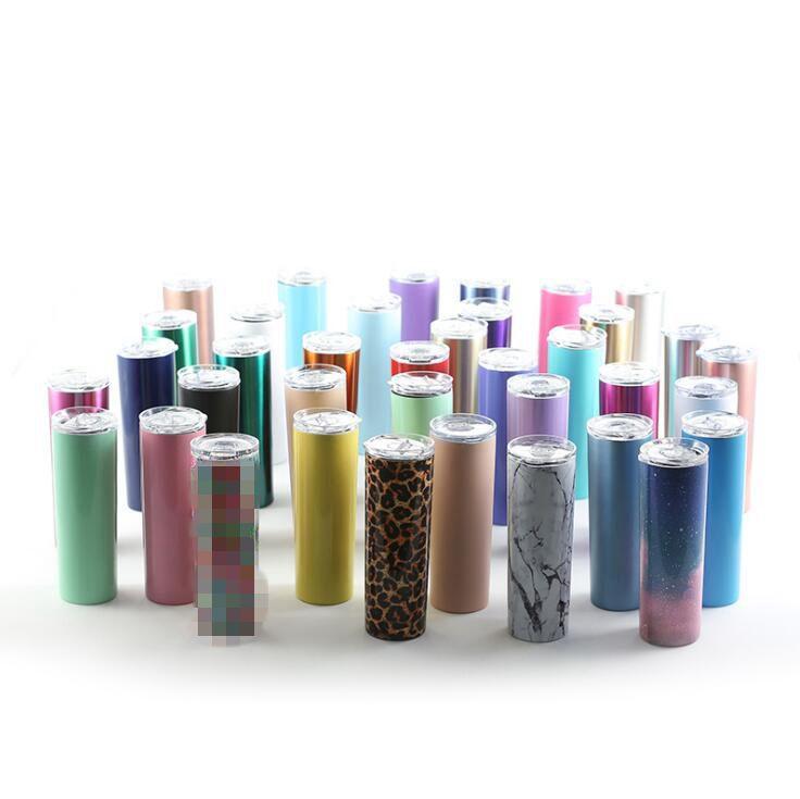 Kapak Straw Kupalar Düz Bardaklar Çift Duvar Vakum İzoleli Kupa su şişesi 100pcs OOA8120 ile 20 oz Paslanmaz Çelik Skinny Tumbler